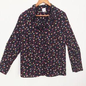Cabi Ferris Black Print L/S Button Front Blouse L